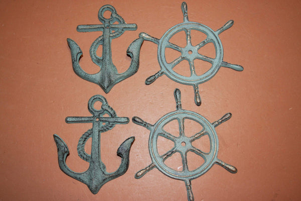 4) Sailor Theme Wall Decor Set, Anchor Coat Hat Wall Hook, Ships Wheel Wall Plaque, Set of 4 Bronze Look Cast Iron