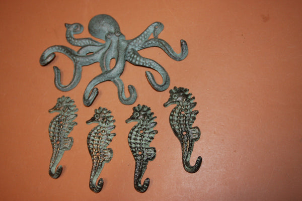 5) Octopus Seahorse Wall Hook Set, Antiqued Verdigris Look Cast Iron, Octopus Towel Jewelry Coat Hat Wall Hooks Set of 5 pieces