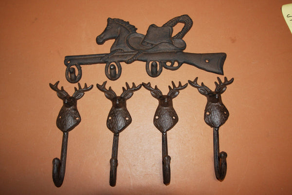 5)  Sportsman Mancave Garage Workshop Coat Hooks Rustic Cast Iron