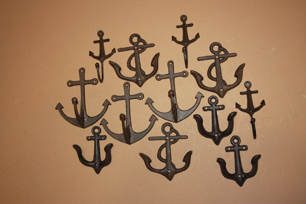 12) Vintage Look Anchor Wall Hooks Deluxe Collection, Rustic Brown Cast Iron, Shipping Included