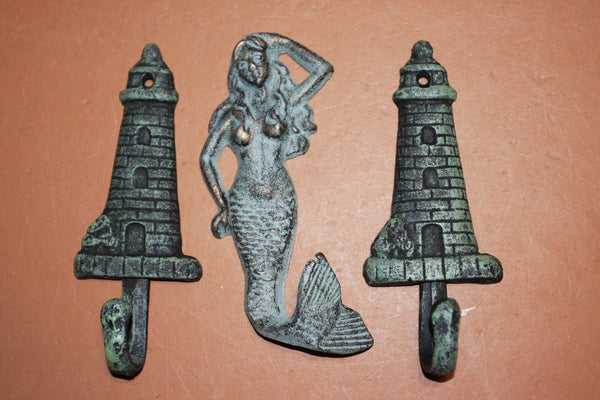 3) Sailor Wall Decor, Lighthouse Mermaid Nautical Wall Hook Set, Antiqued Look Cast Iron,  Nautical Wall Hook Set