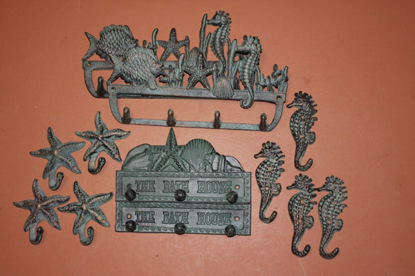 12) Antiqued Look Cast Iron Nautical Wall Decor Bath House Seahorse Starfish Wall Hooks, Set of 12,  Seabreeze