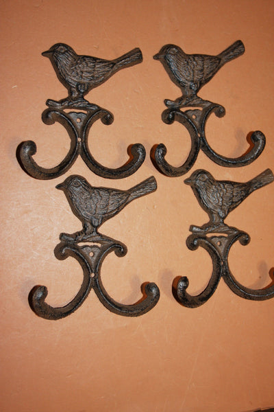 4) Wild Bird Wall Hooks Vintage Look Cast Iron, 5 1/2 inch H-97
