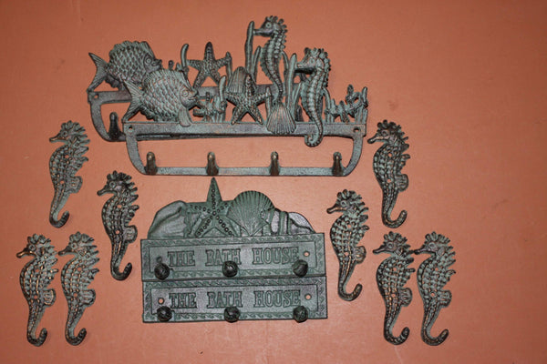12) Beach House Nautical Wall Decor Set, Coat Hat Towel Key Wall Hooks, Antiqued Look Cast Iron, Set of 12, Free Ship, Seabreeze