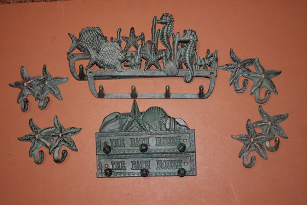 12) Nautical Bath House Bathroom Decor, Bronze Look Cast Iron Starfish Sealife Towel Robe Purse Wall Hooks, Sea Breeze
