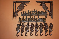 14) Seahorse Wall Shelf Brackets Matching Wall Hooks Deluxe Set 14 pieces, Seahorses Galore, Rustic Cast Iron Coastal Decor