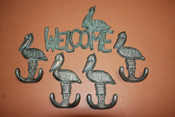 10) Beach House Welcome Entryway Wall Hook Set, Shorelore Collection, 2 sets of what is pictured ~ 10 pcs total