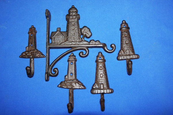 5) Cape Cod Collectible Lighthouse Wall Decor, Cast Iron Plant Hanger Garden Wall Hooks