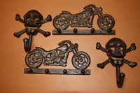 4) Skull Crossbones Motorcycle Decor, Cast Iron Wall Hooks, Mancave Garage Workshop, H-03