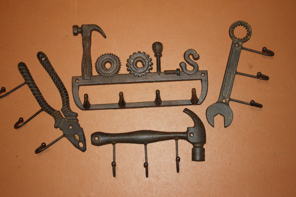 4) Fathers Day Gift Tool Collector Decor Set, Hammers Pliers Wrench Rusty Tools Cast Iron Wall Hooks Set of 4