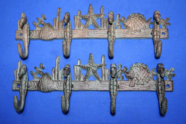 "2) Seahorse Bath Towel Hooks Bar Cast Iron 11 1/4"" long, Antique Style Bronze-look, Set of 2 ~ H-32"