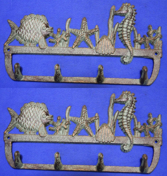 "2) Ocean Theme Towel Wall Hooks Bar Bronze-look Cast Iron, 11 1/4"" long, Set of 2, H-34"