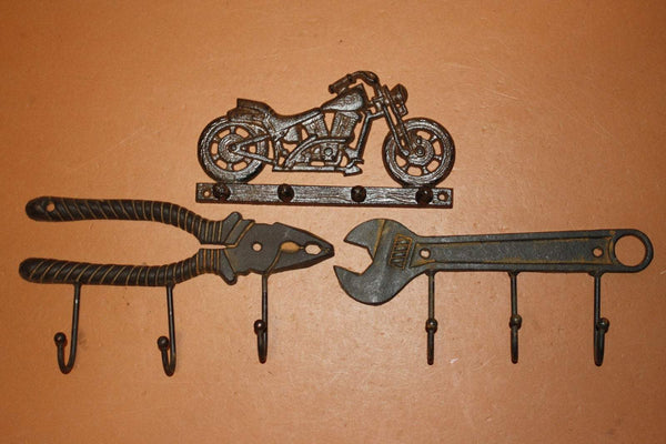 3) Rustic Motorcycle Decor Gift For Him , Cast Iron Coat Hat Wall Hooks perfect for mancave garage workshop ~ Riding High Gift Set