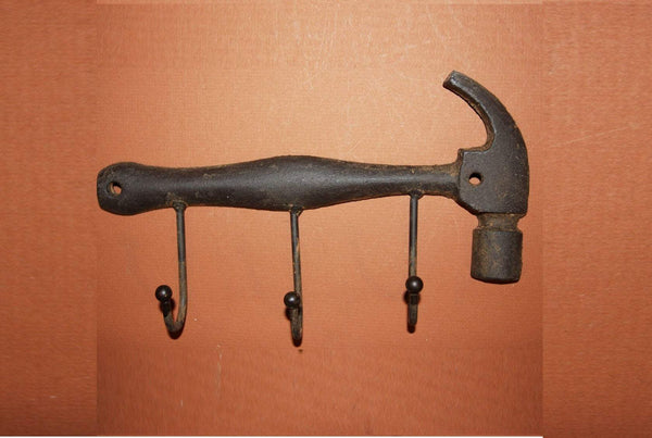 "1) Gift for Dad Vintage-style Hammer Wall Hook 9 1/2"" Solid Cast Iron, H-36"