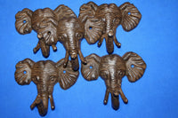 5) Elephant Wall Hooks Cast Iron,  5 inch Elephant Collector Decor, Set of 5,  H-40