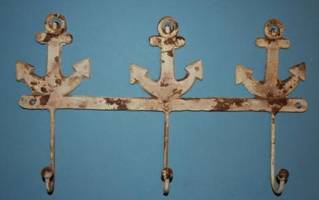 1) Fathers Day Gift Rustic Sailor Decor, Cast Iron Wall Hook Rack
