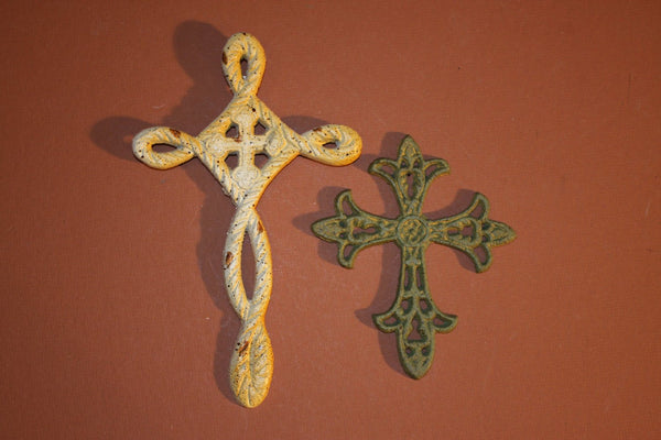 2, Cast Iron Cross, Set, Cross Decor, Free Shipping, Religious Decor,Christian Gift, Commencement, Husband Wife Gift, 36 & 37~
