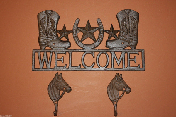 3, pcs, Cowboy Boots Welcome Sign, Horsehead, Wall Hooks, Bathroom decor, Cast Iron Decor, Country Western, Welcome Decor, Front entrance