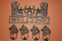 1 set, Cowboy boots, welcome sign, 4 looped horsehead, wall Hooks, bathroom hooks, coat hooks, tool shed wall hooks,Country Western, towel