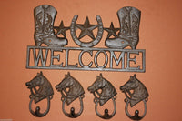 5) Fathers Day Gift Texas Farm Ranch Decor Lone Star Welcome Cast Iron Plaque with 4 Cowboy Wall Hooks