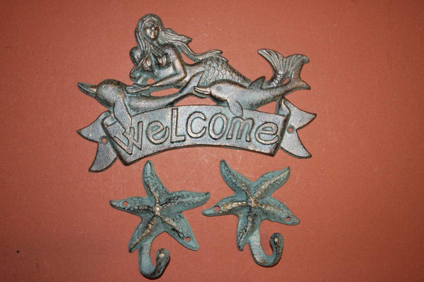 3 pcs,Mermaid, Starfish, Welcome, Welcome Plaque, Mermaid, starfish, dolphins,welcome sign, bronze look, mermaid decor, BL-40 & 37~