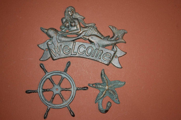 3) pcs, 1 set, Mermaid Welcome Plaque, Nautical decor, Mermaid,ships wheel, starfish,sea star, Welcome,Bronzed Look 1 ea,BL-40~