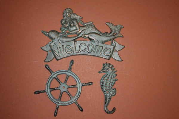 3) pcs, 1 set, Mermaid,Welcome,Plaque, Nautical welcome, Mermaid with dolphins,ships wheel, seahorse,Bronzed Look,1 ea,BL-40,41,36~