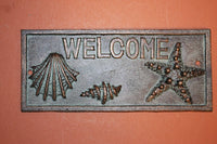 1 pc) Beach house welcome sign, Cast Iron nautical decor, bronze look nautical decor, free shipping, Christmas Gift, ready to paint,