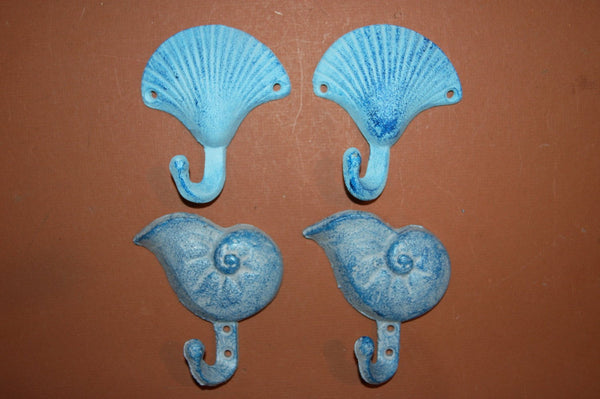 4)pcs, cast iron seashell wall hooks collection, free shipping, seashell wall decor, nautical, ready to paint  wall hooks, 2 each N-2,52