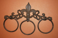 1)pc, Fleur De Lis Bath Towel Ring, free shippping, cast iron Fleur De Lis Bath Decor, vintage-look bath towel ring,cast iron,F-20