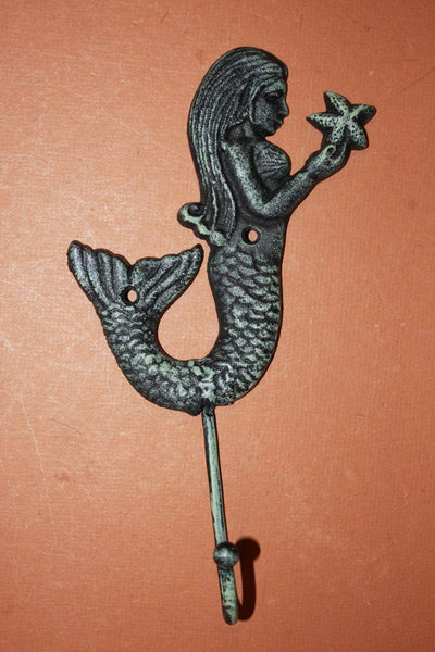 2)pcs, Mermaid bath decor, free shipping, mermaid towel hook, mermaids, cast iron mermaid decor, mermaid wall hook, green, BL-57~