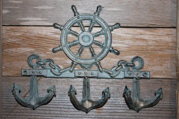 "2 pieces) Bronze-look anchor, helm wall hook 9 1/2"" wide, free shipping, coat and hat hook, nautical coat and hat hook, BL-62~"