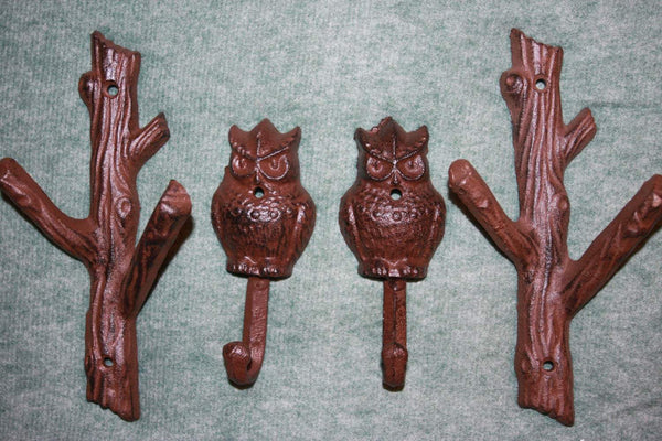 4 pieces) Forest Owl home decor, coat hook, hat hook, free shipping, cast iron forest owl wall hook, rustic brown,H-42, W-xx