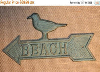 5 pcs) Decorative cast iron beach sign featuring a sea gull, point to the beach sign, free shipping, bronze look finish, vintage loo