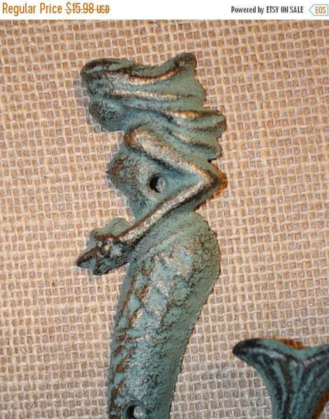 2 pcs) Bronze look mermaid wall hook, mermaid bathroom hook, free shipping, mermaid wall hook, mermaid wall decor, mermaid hook~