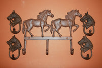 5) pcs, Wild Horse Bathroom Decor, cast iron western bath decor, free shipping, paintable, Horse bath towel hook, rustic,W-55,W-8