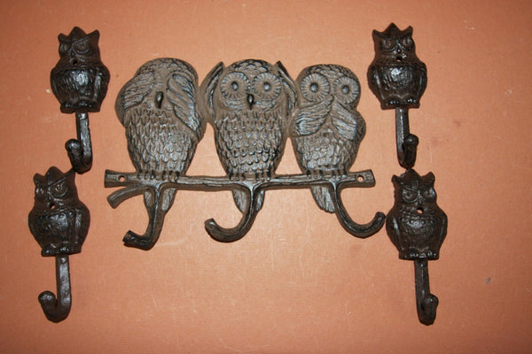 5) pcs, Hear No Evil, Speak No Evil,See No Evil, cast iron wall hook, cast iron wall decor, free shipping, owl wall hook,H-13,H-43