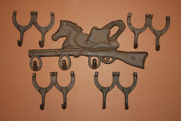 10)pcs, Cast iron cowboy farm and ranch coat and hat hook, cast iron horse shoe wall hook, horse shoe decor, Free shipping, W-12,9