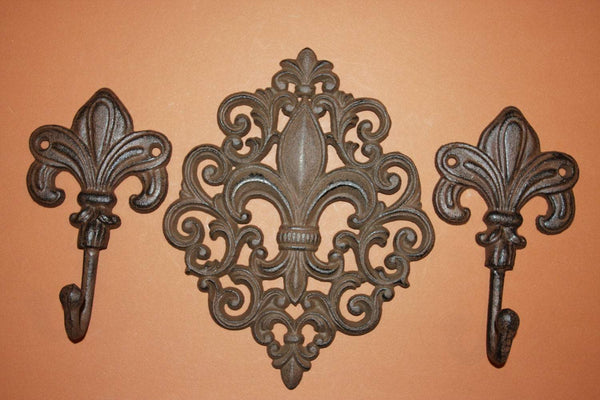 "3)pcs, Vintage-look cast iron Fleur de Lis wall hook combo, 9 1/2"" free shipping, Fleur De Lis plaque, French Quarter, F-10, F-12"