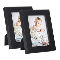 Picture Frames is Black (3.5x5 inch of 2pk) and Made of Solid Wood and High Definition Glass