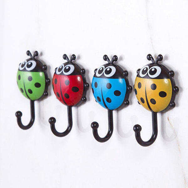 Creative Ladybug Bee Cartoon Bathroom Wall Hooks Sucker Nail Hook Wall Decor