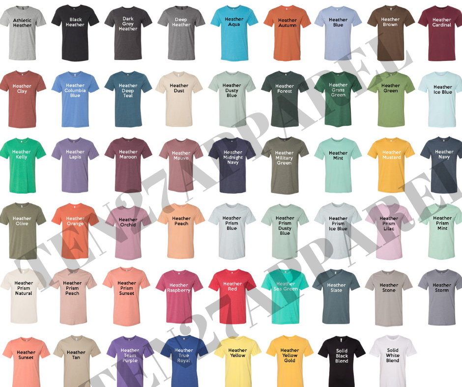 BELLA CANVAS COLOR CHART/IN STOCK BLANK TEES HEATHER 3001 CVC