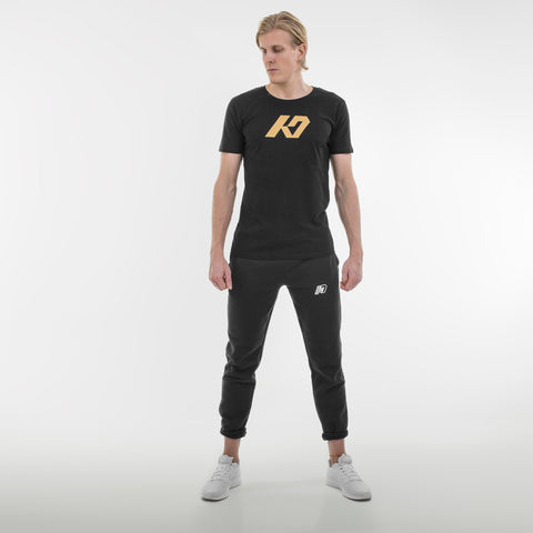 K7 Men's T-shirt Casual Black Gold Edt