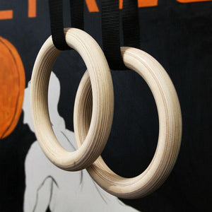 Professional Birch Wood Gymnastic Rings Including Cam Straps