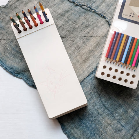 Chunky Sketch Pad Jotblock with colored pencils