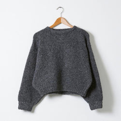 Balloon Sleeve Knit Boucle Sweater - Charcoal