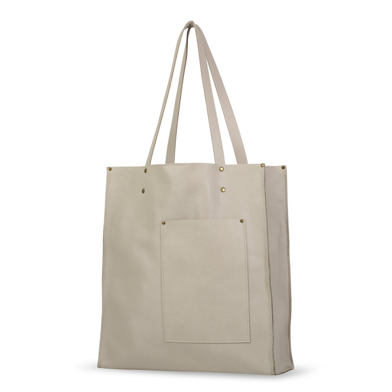 Multi-Pocket Vertical Tote - Italian Leather - Oyster