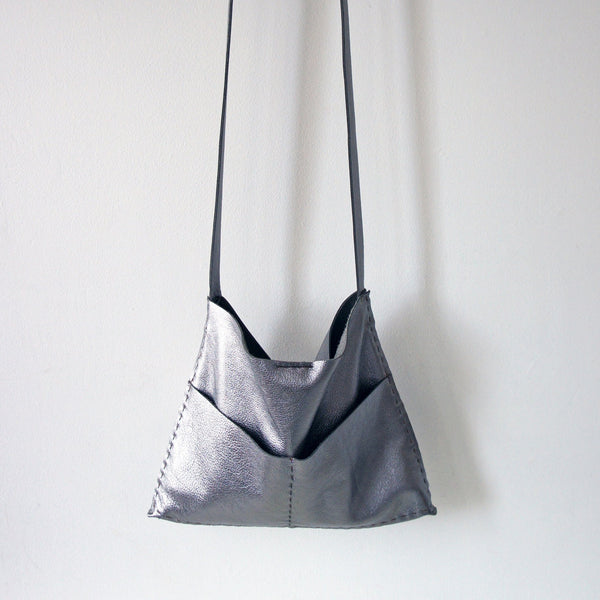 The Alma - Soft Leather Bag - Hand Sewn - Black, Dark Roast, Bronze or Gunmetal - Hobo or Crossbody