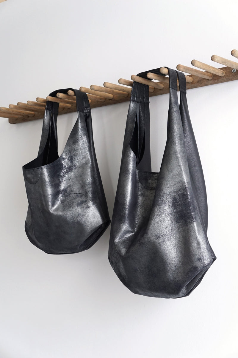 Slouch Bag - Distressed Black Leather - 2 sizes - Price from