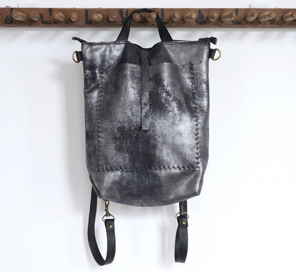 Bercy - Convertible Backpack - Shoulder Bag - Crossbody -  Distressed Black